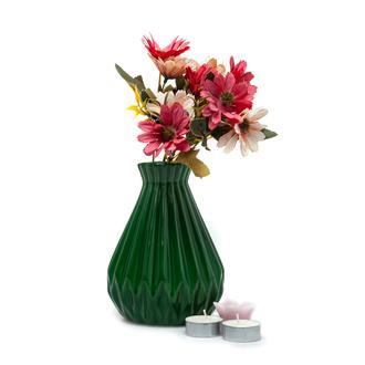 Carmen Seramik Küçük Tırtıklı Vazo - Yeşil