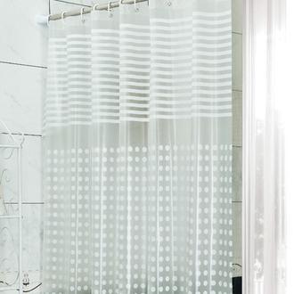 Primanova White Stripe Banyo Perdesi - Beyaz