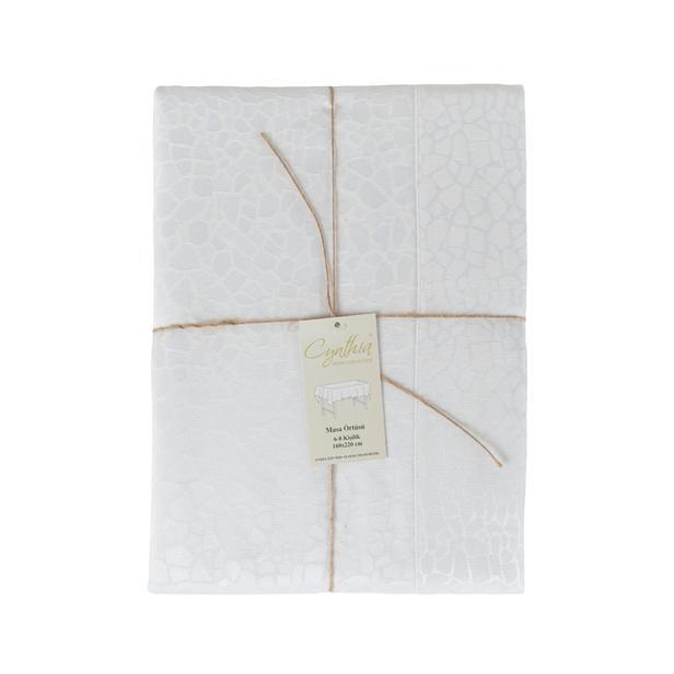 Cynthia Fulya Masa Örtüsü (Beyaz) - 160x300 cm
