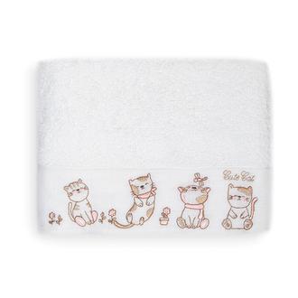 Linnea Kitties Çocuk Havlusu (Beyaz) - 50x70 cm