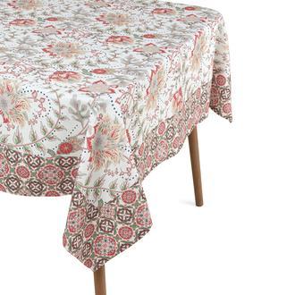 Cynthia Summer Baskılı Masa Örtüsü - Mercan - 140x180 cm