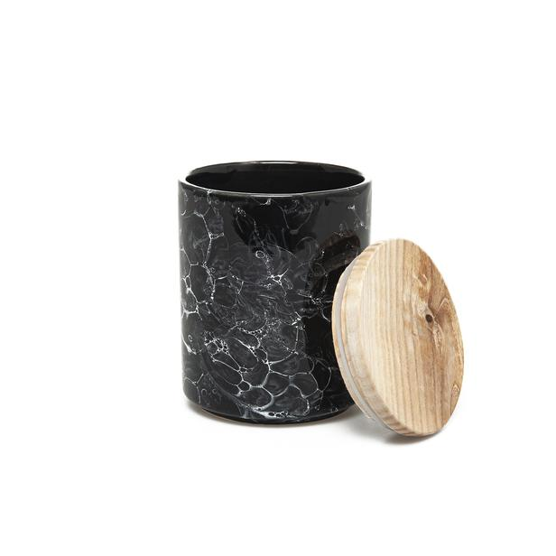 İpek Ahşap Kapaklı Kavanoz - Granit / 13 cm  Srb503