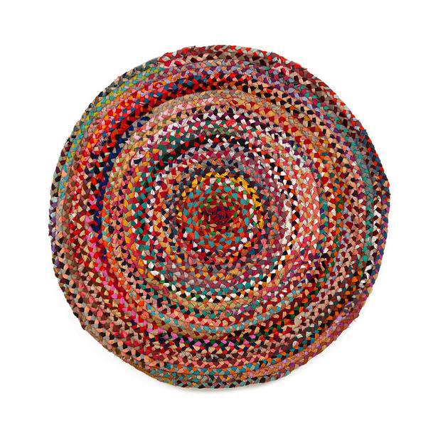 Giz Home Y14 Bolero Jüt Örgü Yuvarlak Kilim (Renkli) - 120 cm