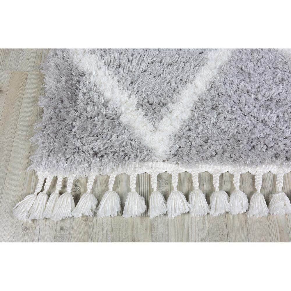 Koza Halı Marakesh 0500E Shaggy Halı - Gri/Beyaz - 160x230 cm