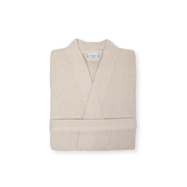 Linnea Plain Erkek Kimono Bornoz - Bej - L/XL Beden