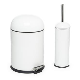 Dibanyo Bon Pedallı Çöp Kovası ve Wc Klozet Fırçası Set - Beyaz