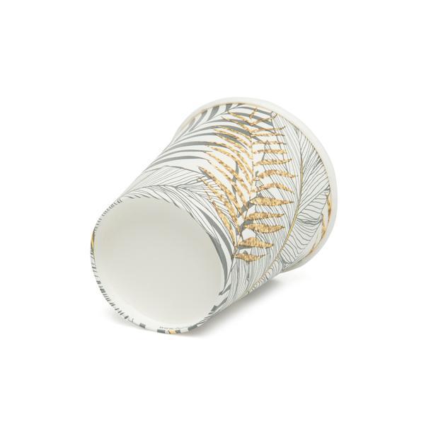 Roll-Up Party Dreams Altın Simli Yapraklar 8'li Karton Bardak - Beyaz