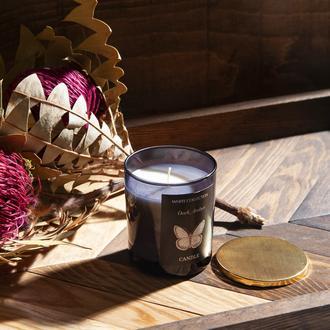 White Collection Bardak İçi Mum Altın Kapaklı - Siyah / Dark Amber