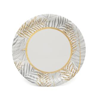 Roll-Up Party Dreams Altın Simli Yapraklar 8'li Karton Tabak - Beyaz/23 cm