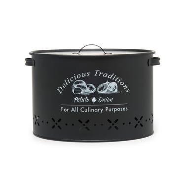 Evstyle Metal Bölmeli Patates Soğan Kovası Siyah- 18 lt