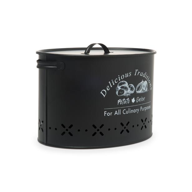 Evstyle Metal Bölmeli Patates Soğan Kovası Siyah - 18 lt