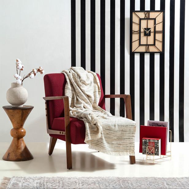 Linnea Stripe Jakarlı Throw Battaniye - Haki - 130x170 cm