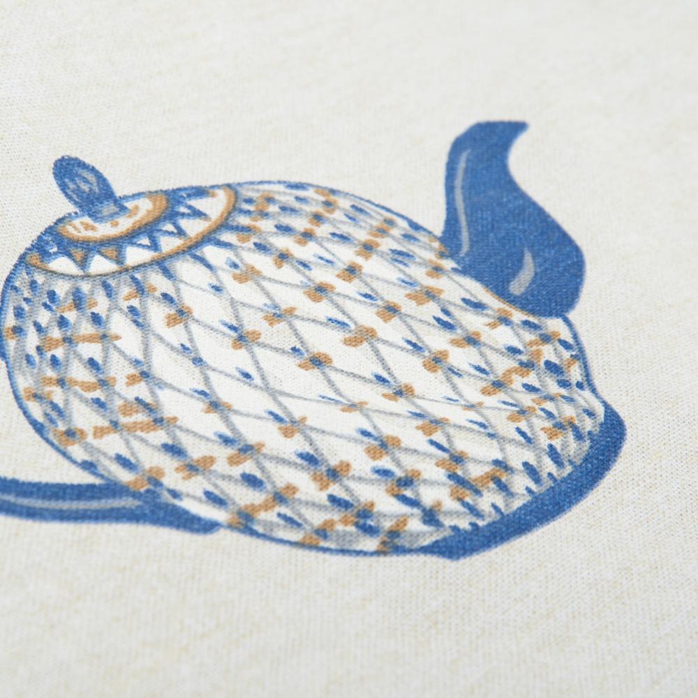 Neptün Teapot Baskılı Masa Örtüsü (Ekru) - 140x220 cm