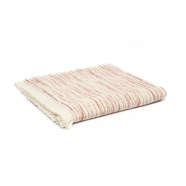 Linnea Stripe Jakarlı Throw Battaniye - Kiremit - 130x170 cm