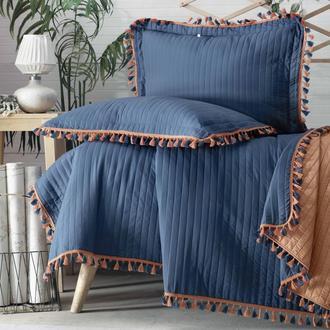 Evim Home Püsküllü Çift Kişilik Yatak Örtüsü Takımı - İndigo / Karamel