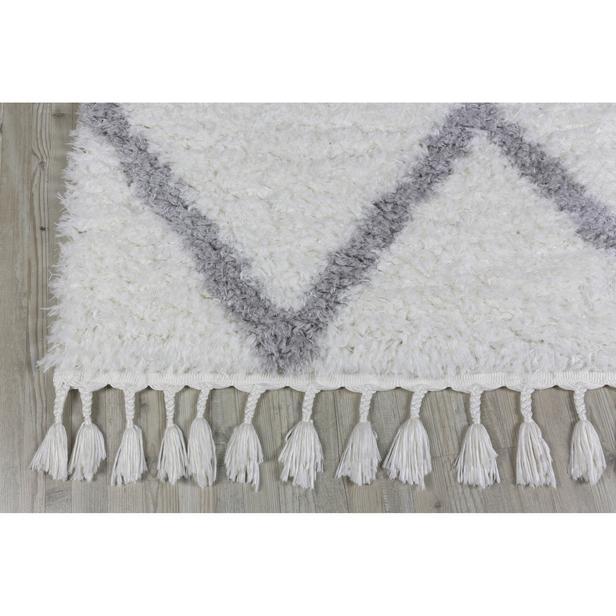 Koza Halı Marakesh 0500E Shaggy Halı 80x150 cm - Beyaz/Gri