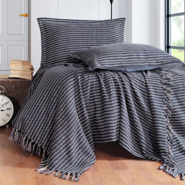 Evim Home Stripe Çift Kişilik Yatak Örtüsü Takımı - 240x250 cm+2x(50x70) cm - Lacivert