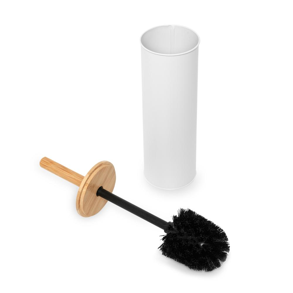 Tohana Bambu Saplı Metal Tuvalet Fırçalık-Beyaz