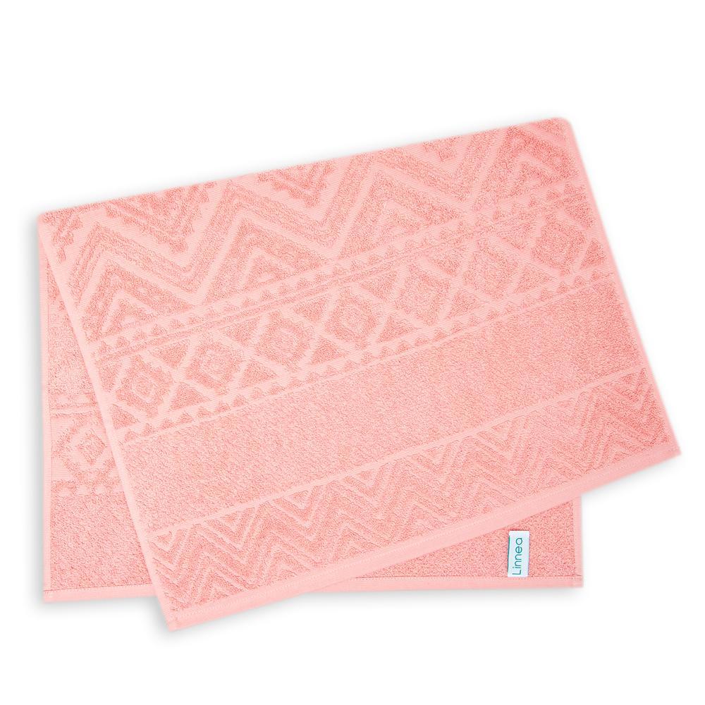 Linnea Pelas Banyo Havlu Seti - 50x80+70x140 cm - Soft Pembe