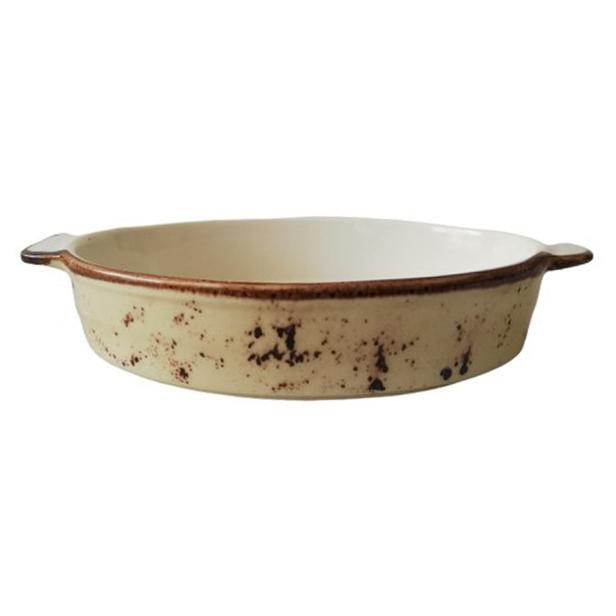 Tulu Porselen Oval Fırın Kabı - Krem / 21 cm