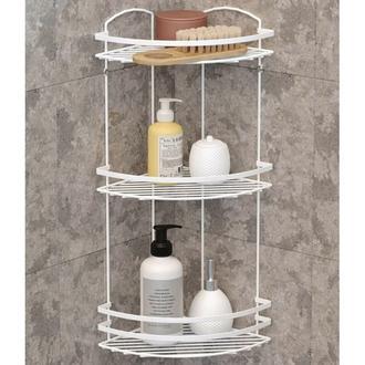 Tekno-tel Elektrostatik Boya 3 Katlı Banyo Köşe Rafı - Beyaz