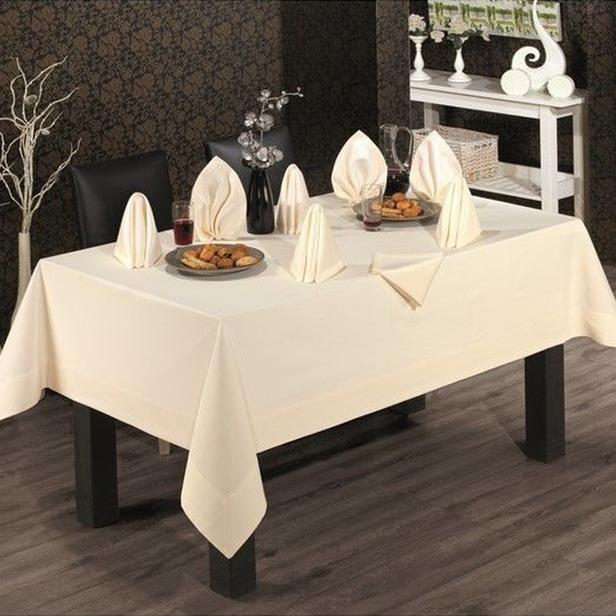 Tabe Honey Tablecholts Set Masa Örtüsü - 160x220 cm - Krem