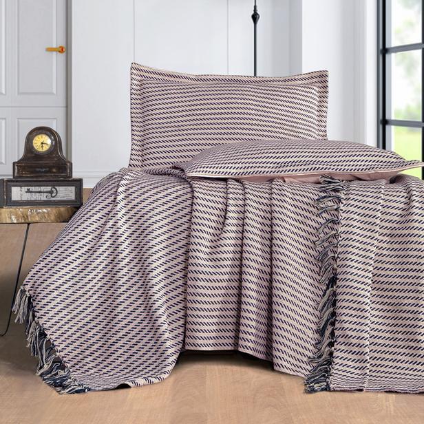 Evim Home Stripe Çift Kişilik Yatak Örtüsü Takımı