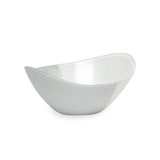 Evabella İstanbul Servis Kasesi - Beyaz/Gümüş - 16cm