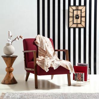 Linnea Stripe Jakarlı Throw Battaniye (Gülkurusu) - 130x170 cm