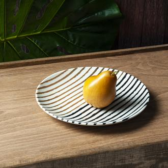 Tulu Porselen Çizgili Servis Tabağı - 24 cm