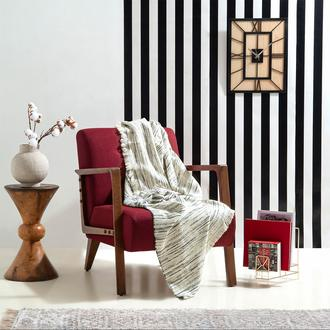 Linnea Stripe Jakarlı Throw Battaniye- 130x170 cm- Lacivert
