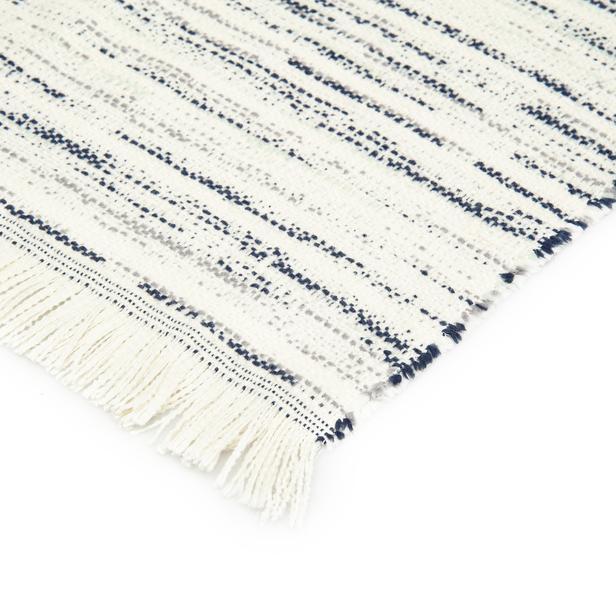 Linnea Stripe Jakarlı Throw Battaniye - Lacivert - 130x170 cm