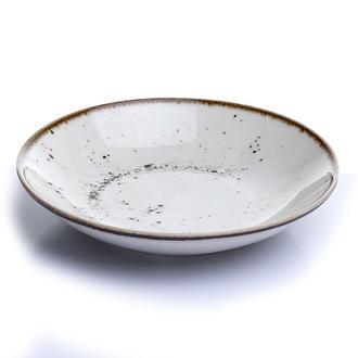 Tulu Porselen 1 Parça Çukur Tabak - Reactive Krem / 19 cm