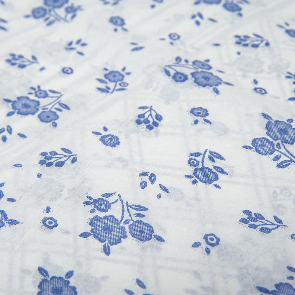 Pratikser 10'lu Kullan At Masa Örtüsü - 120x150 cm -  Mavi Çiçek Desenli