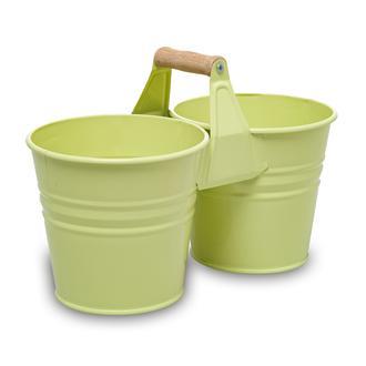Desen Dekor Çift Saksı - Yeşil
