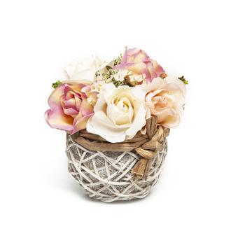 Dekoratif Çiçek 8Lu Fransız Güller Bambu Saksıda