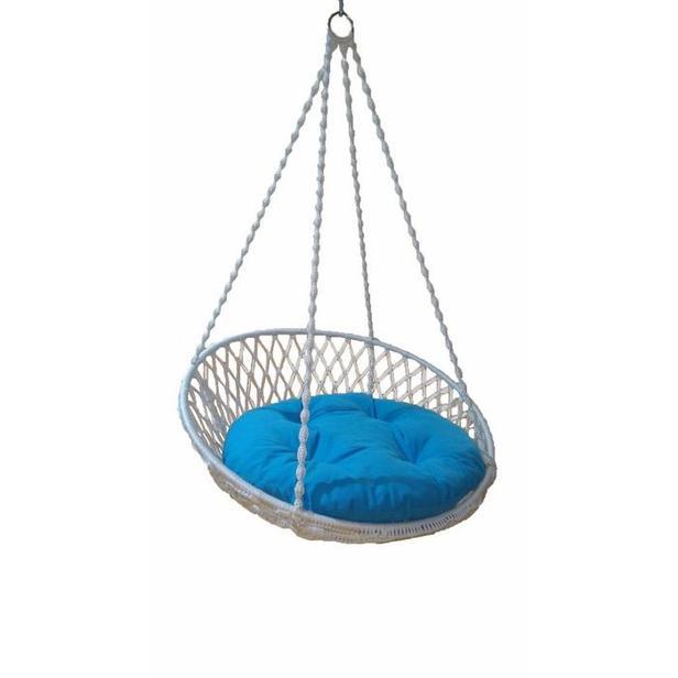 Altınoluk Relaks Salıncak - Beyaz (Mavi Minderli)