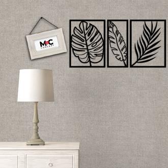 M&C Concept 3 Yaprak Metal Duvar Panosu - Siyah