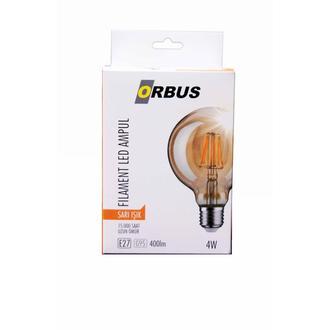 Orbus G95 LED Filament Bulb Amber 4 Watt E27 Ra80 220- 240V/50Hz 2200 k Sarı Işık Ampul