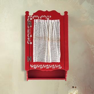 Orta Sofa Perdeli Tek Kapaklı Terek - Kırmızı