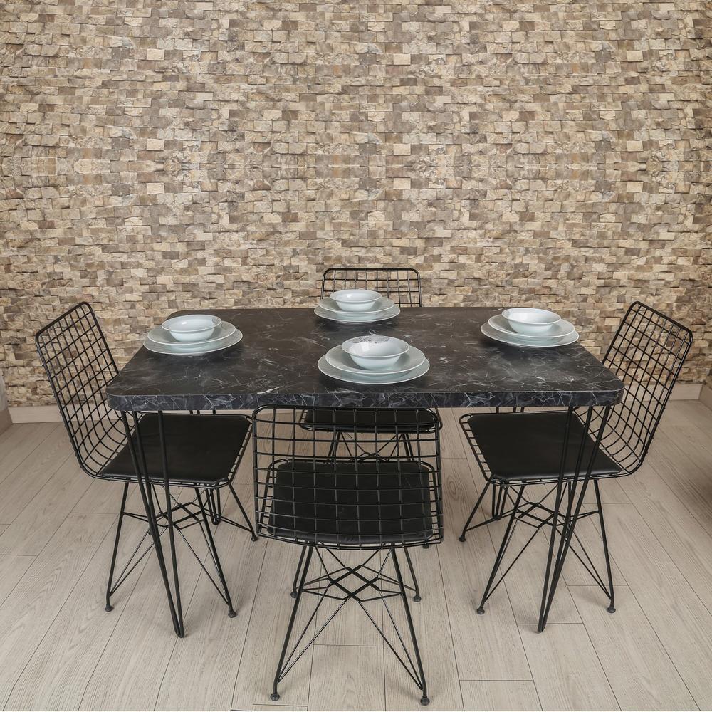 Akın Lüx Dekor Tel Ayaklı Masa Sandalye Takımı - Siyah