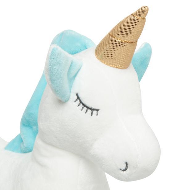 Selay Toys Unicorn Figürlü Yastık (Mavi / Beyaz) - 35 cm