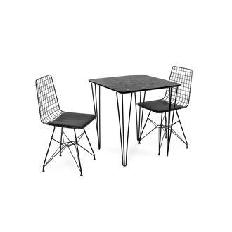 Akın Lüx Modern Tel Ayaklı Masa Sandalye Takımı - Siyah