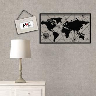 M&C Concept Dünya Haritası Metal Duvar Panosu - Siyah