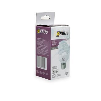 Orbus Burgu Enerji Tasarruflu 20 watt, E27 1200 Lm, Ra80 220- 240V/50Hz, 6400K 6400 k Beyaz Işık Ampul
