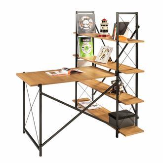 Ofisbazaar Metal Ayaklı Kitaplıklı Çalışma Masası - Siyah / Kiraz