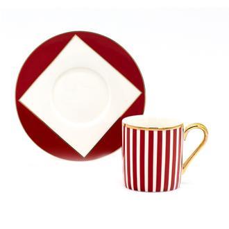 Sembol Harlem 12 Parça Çizgili Kahve Fincan Seti - Kırmızı