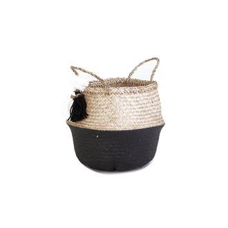 Kanca Ev Püsküllü Katlanır Göbekli Hasır Sepet (Siyah) - 30 cm