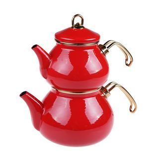 Taşev Beyzade Emaye Çaydanlık - Kırmızı