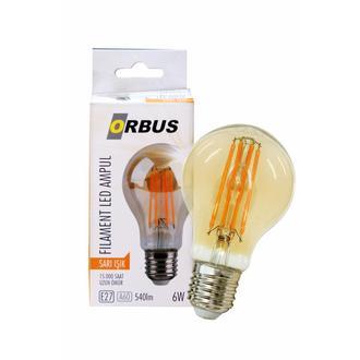 Orbus A60 LED Filament Bulb Amber 6 Watt E27 540lm Ra80 220- 240V/50Hz 2200 k Sarı Işık Ampul